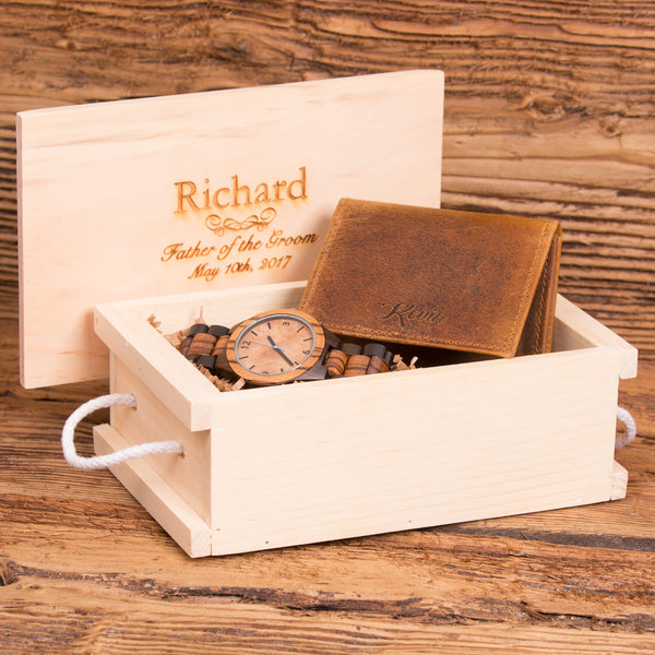 Monogrammed Wallet & Wood Watch Set