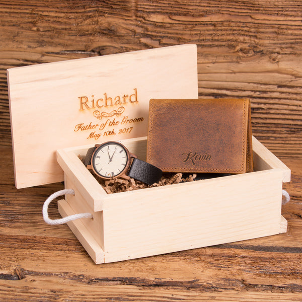 Monogrammed Wallet and Personalized Wood Watch