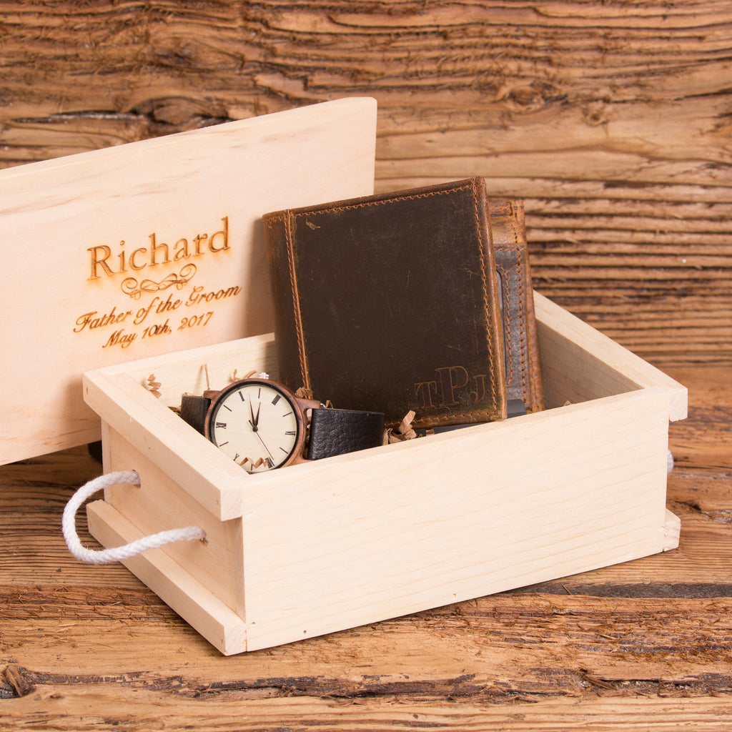 Monogrammed Leather Wallet & Wood Watch Set