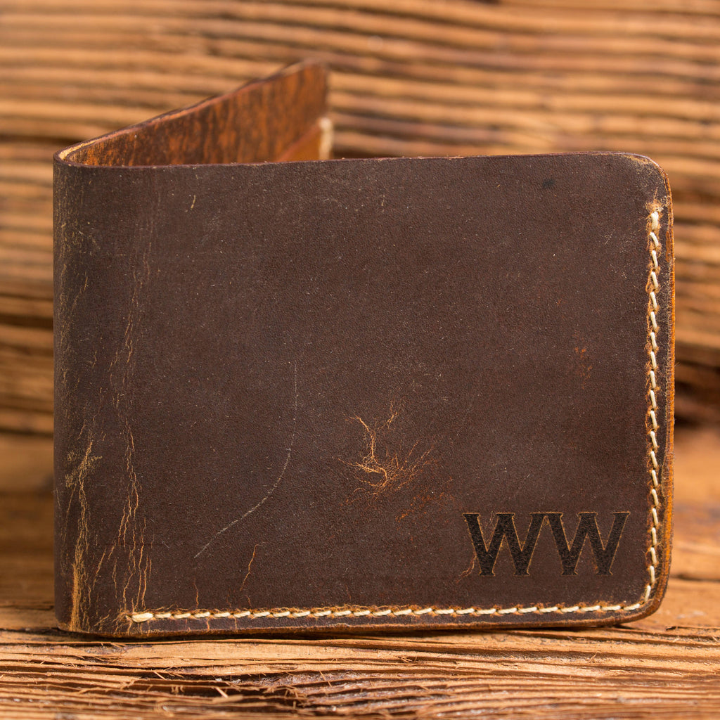 Personalized Bi-Fold Wallet and Masculine Wood Watch