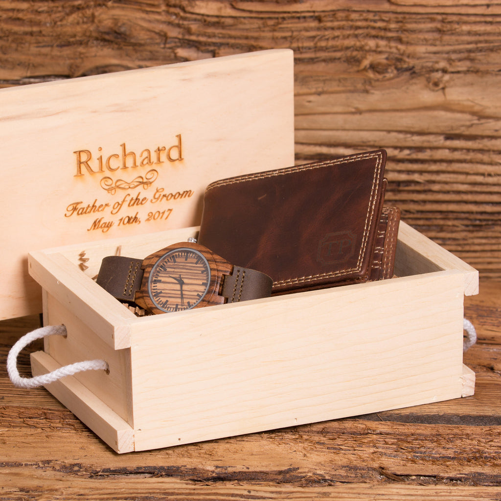 Custom Monogrammed Wood Watch and Wallet Gift Set