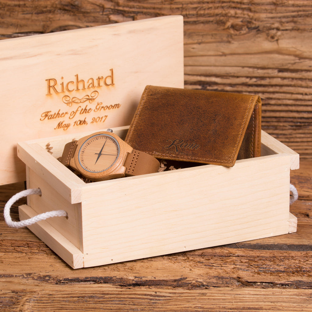 Monogrammed Wooden Watch and Leather Wallet Gift Set
