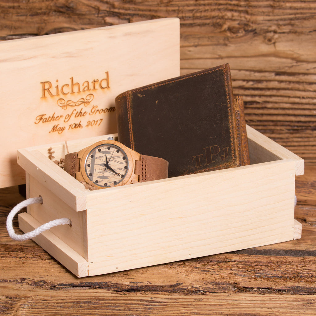 Wedding Gift Set Personalized Wallet and Wood Watch