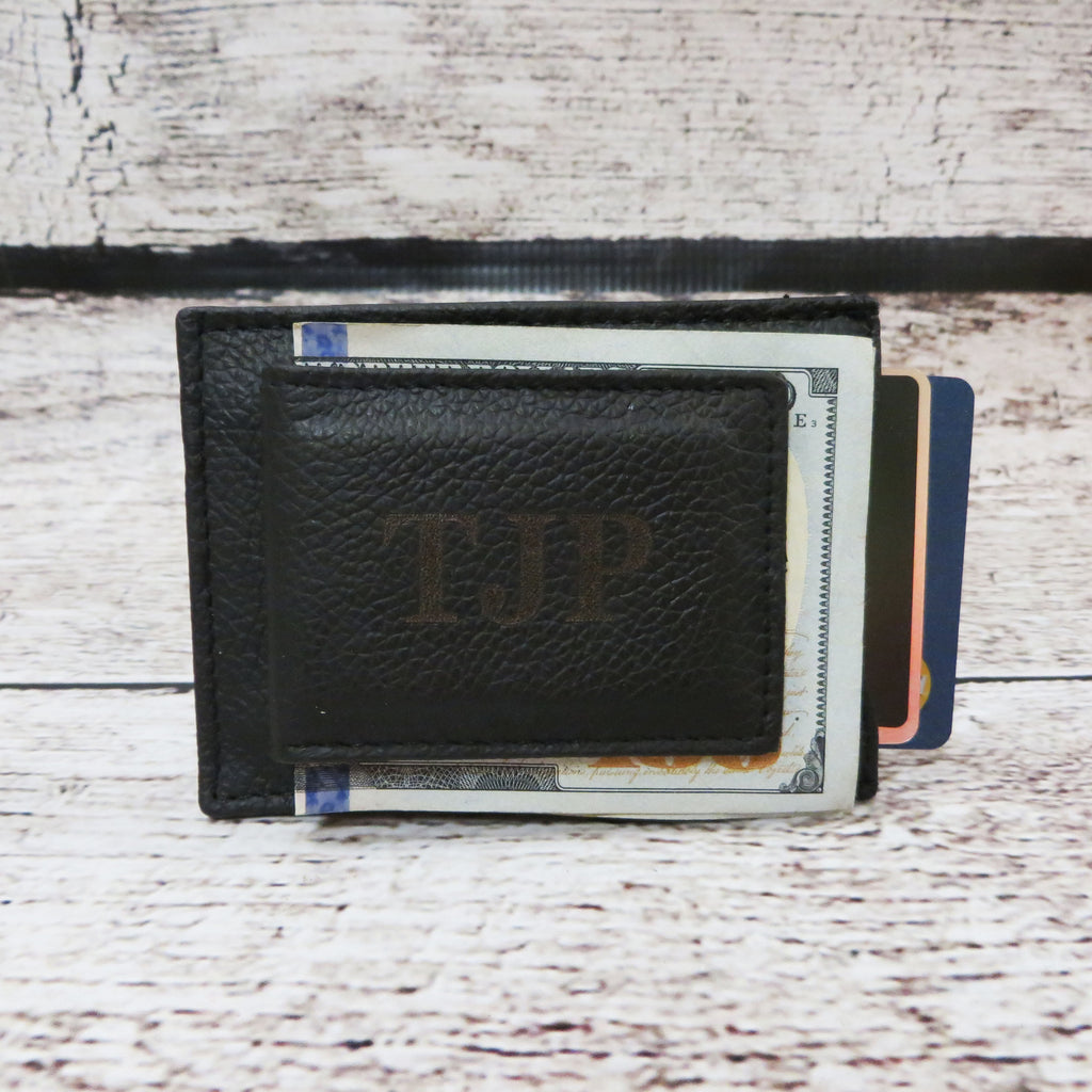 Personalized Leather Money Clip w/ Card Slots