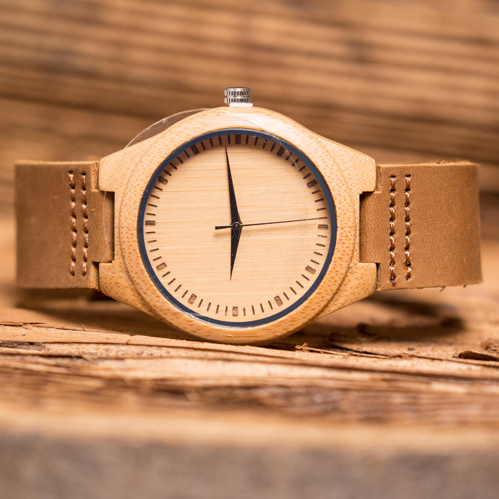Handsome Personalized Wood Watch with Leather Band