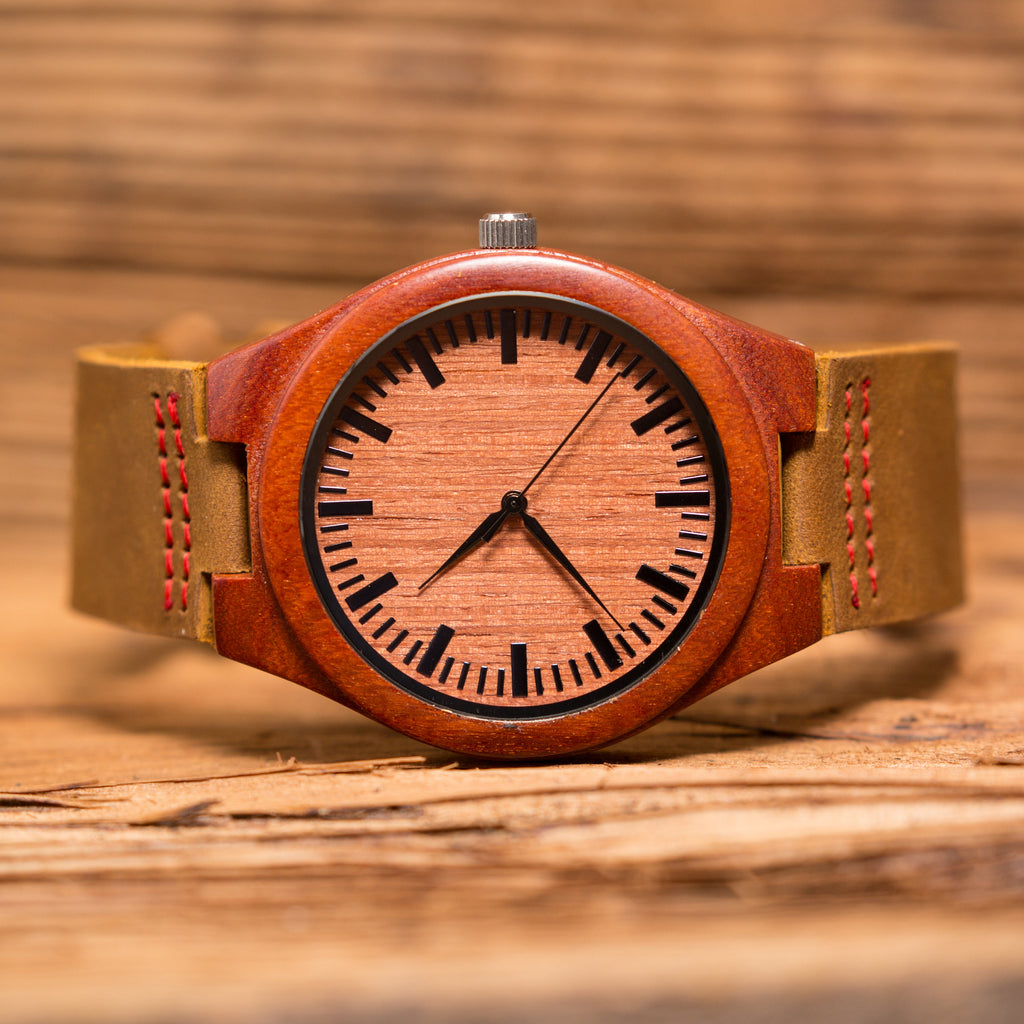 Personalized Red Sandalwood Wood Wrist Watch