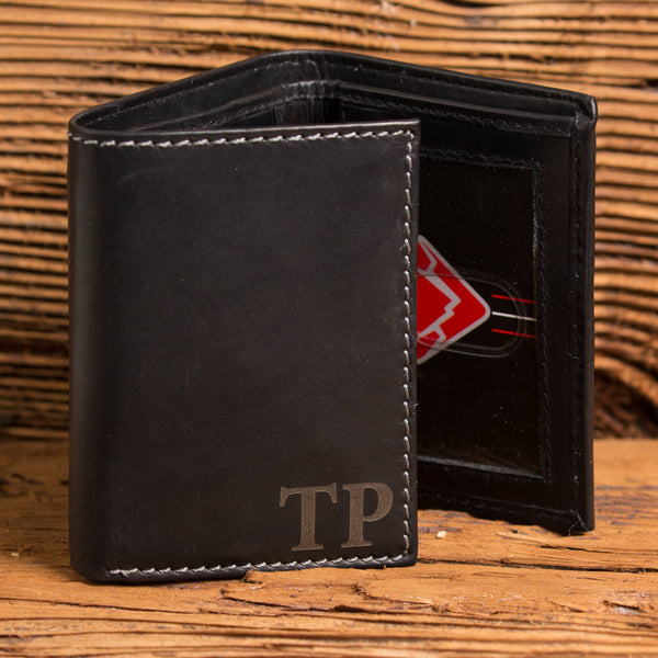Black Tri Fold Personalized Wallet