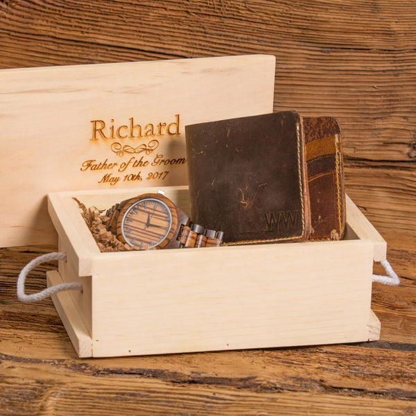 Personalized Zebra Grained Wooden Watch and Monogram Leather Wallet Set