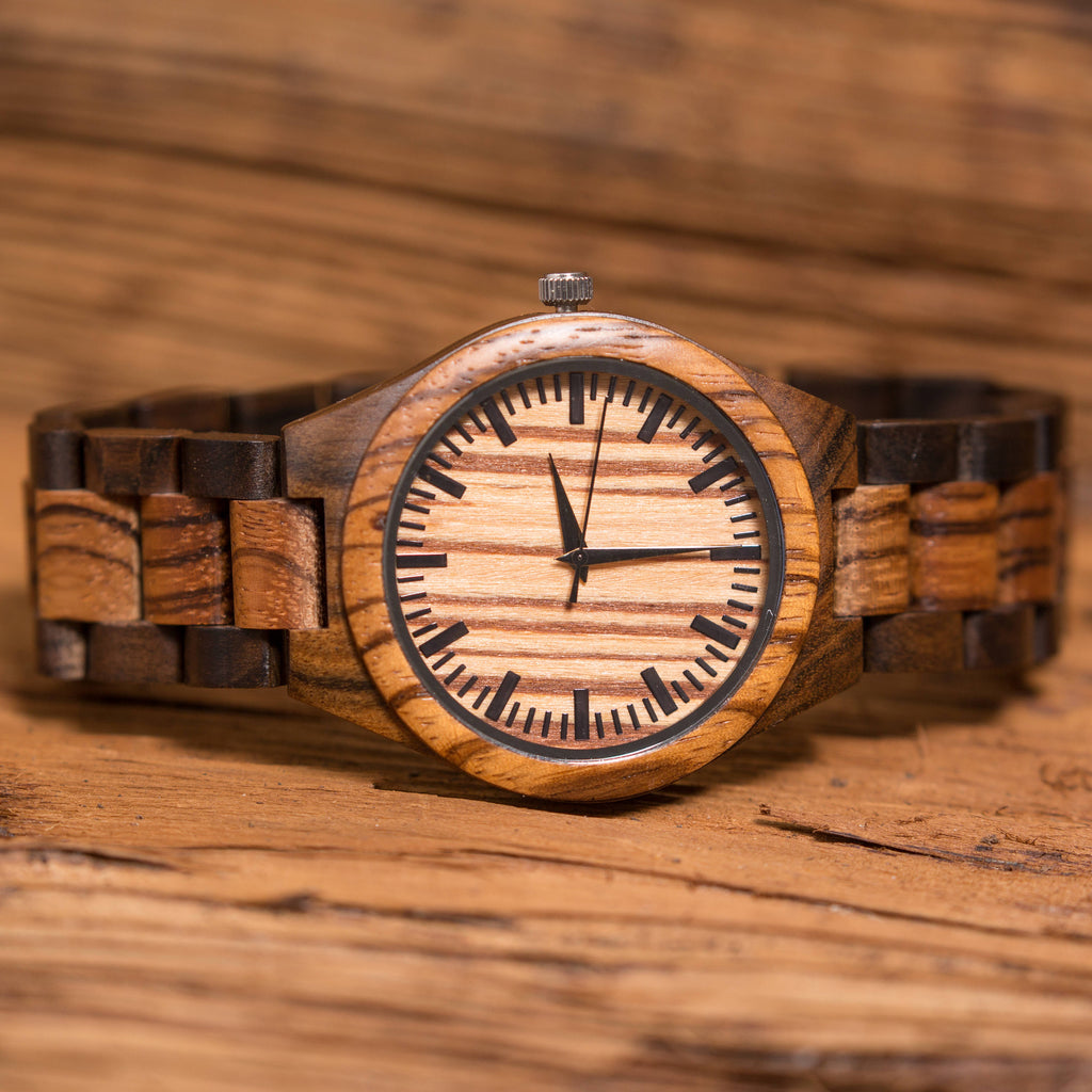 Personalized Wooden Mens Watch and Bi-fold Wallet