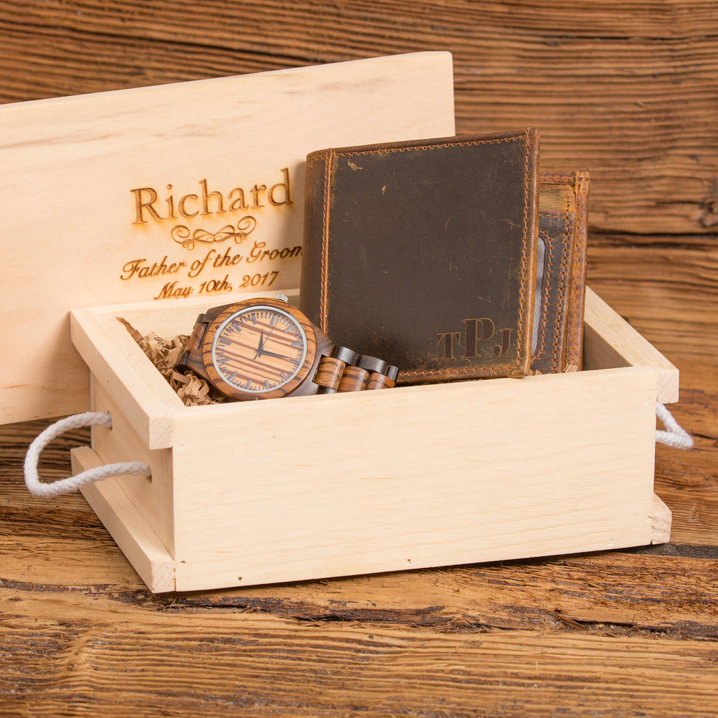 Personalized Wooden Watch and Monogram Leather Wallet