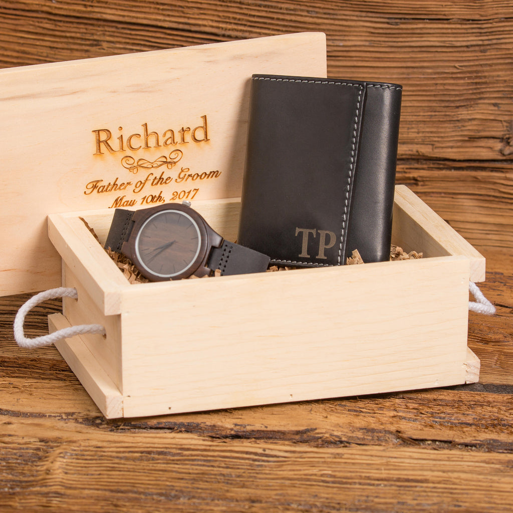 Customer Engraved Gift Set w/ Wood Watch and Leather Wallet