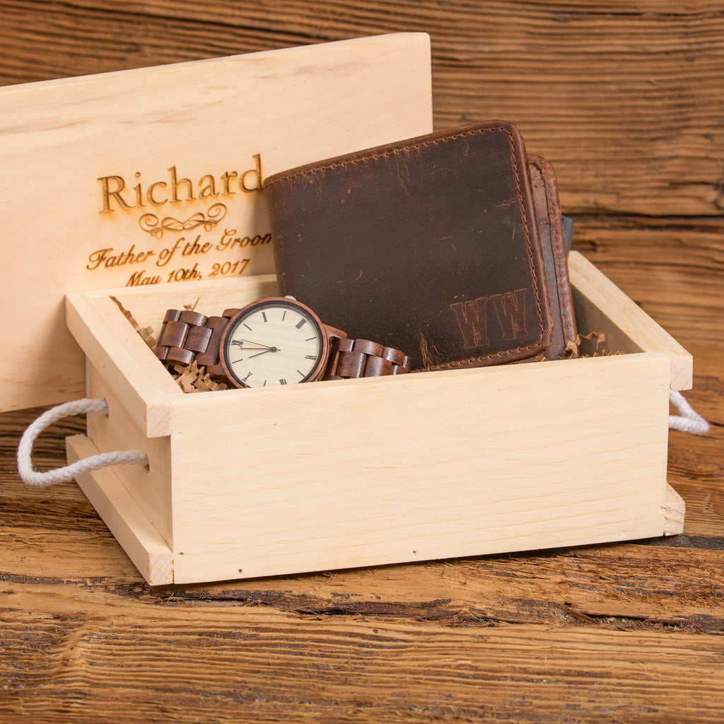 Monogram Wallet Personalized Wood Watch Gift Set Donebetter