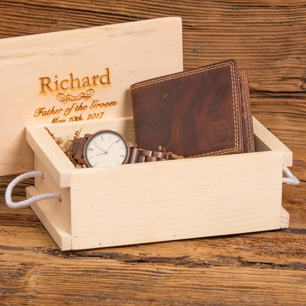 Monogrammed Wallet and Wood Watch Gift Set with Keepsake Crate