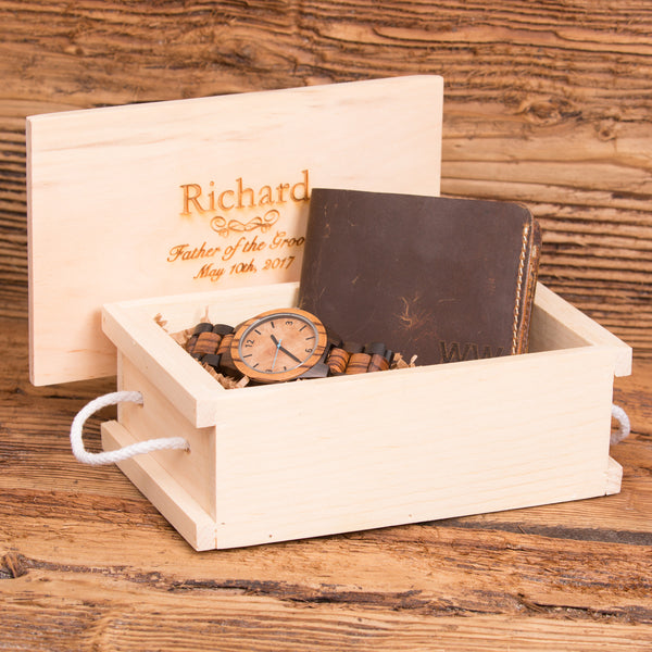 Bi Fold Wallet Monogrammed with Wood Watch Personalized