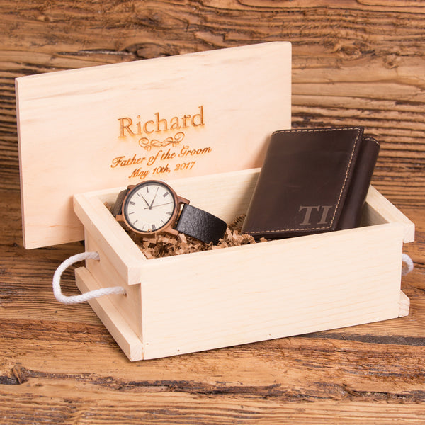 Monogram Wallet and Watch Gift Set Box