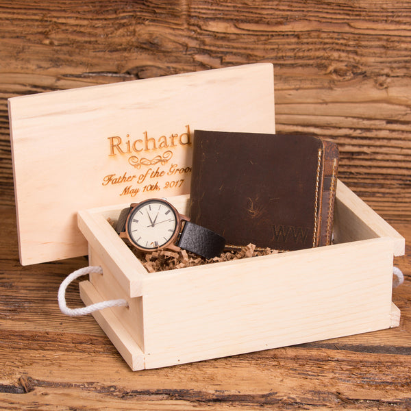 Monogrammed Wallet and Personalized Wood Watch Set