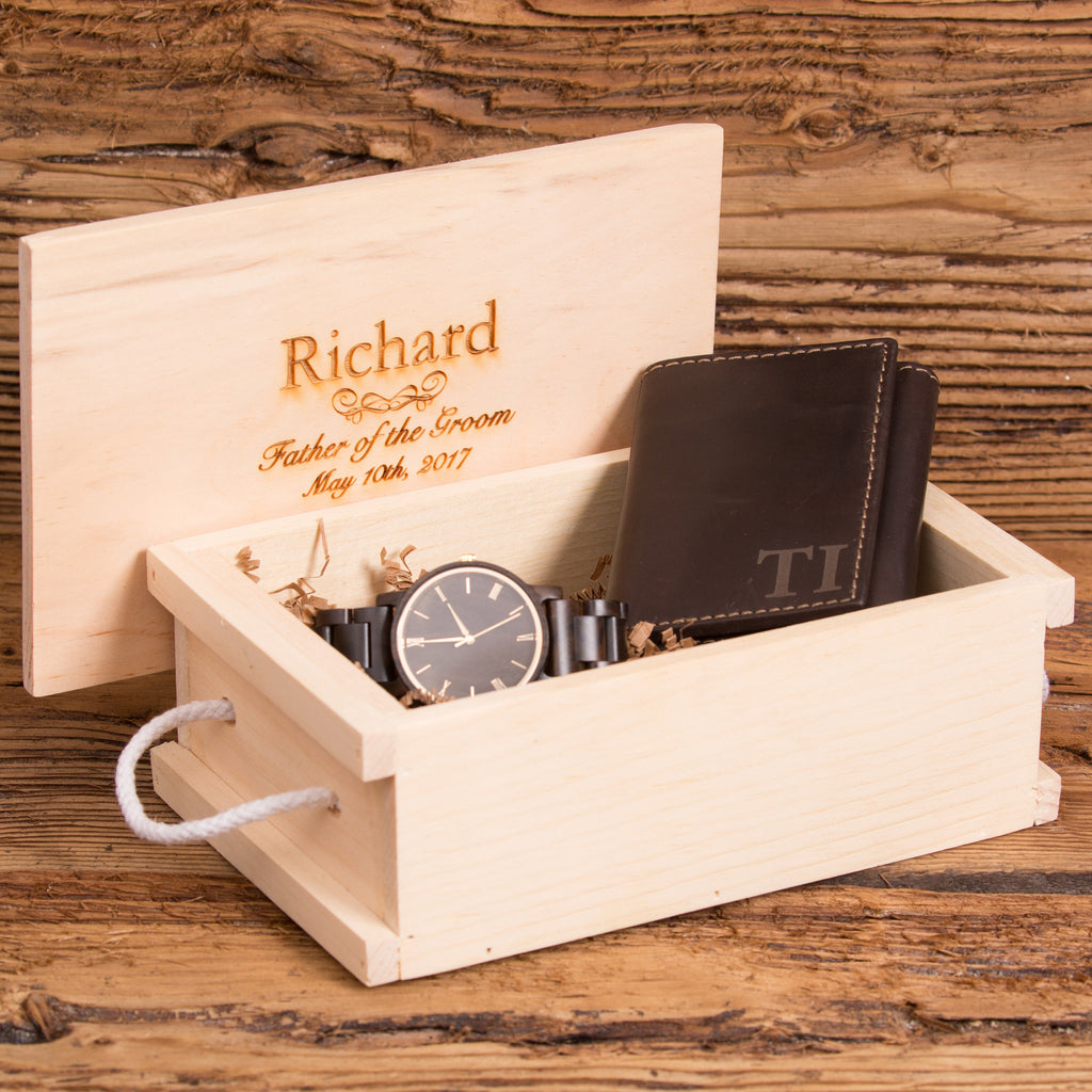 Personalized leather Wallet & Wood Watch Gift Set