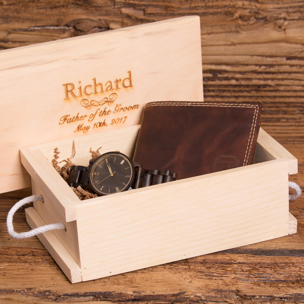 Custom Handsome Gift Set For Men Wallet and Wood Watch