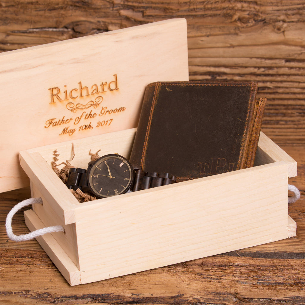 Gift Set Including Wallet and Personalized Wood Watch