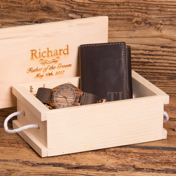 Customized Tri fold Wallet and Watch Gift Set for Men