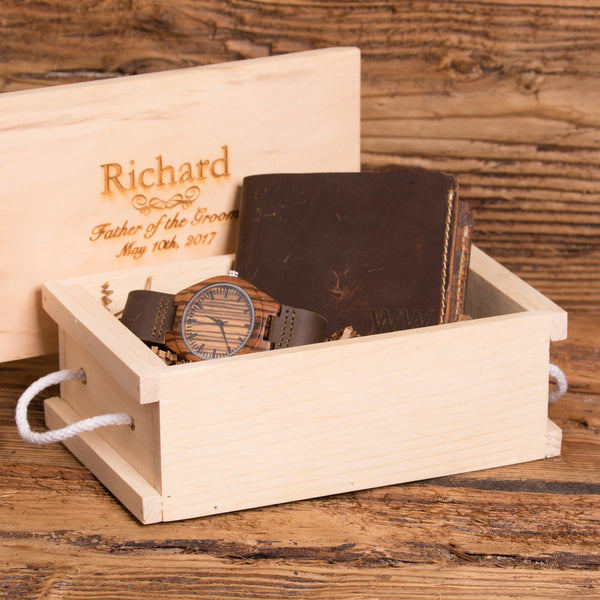 Personalized Bi fold Wallet and Watch Gift Set