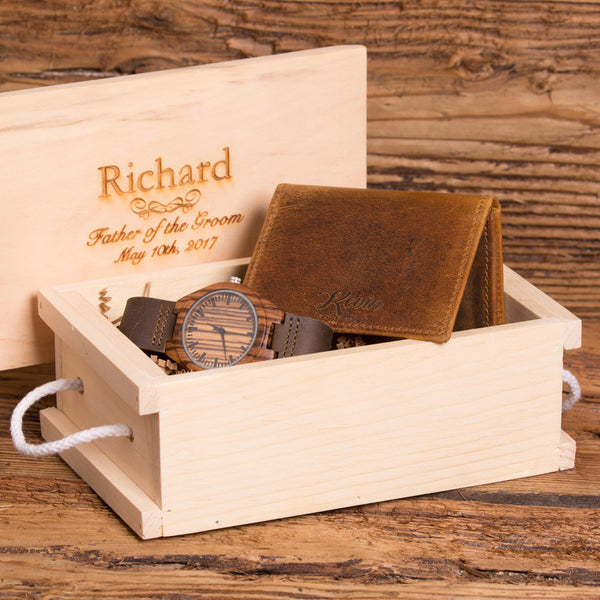 Personalized Simple Flip Open Wallet and Watch Set