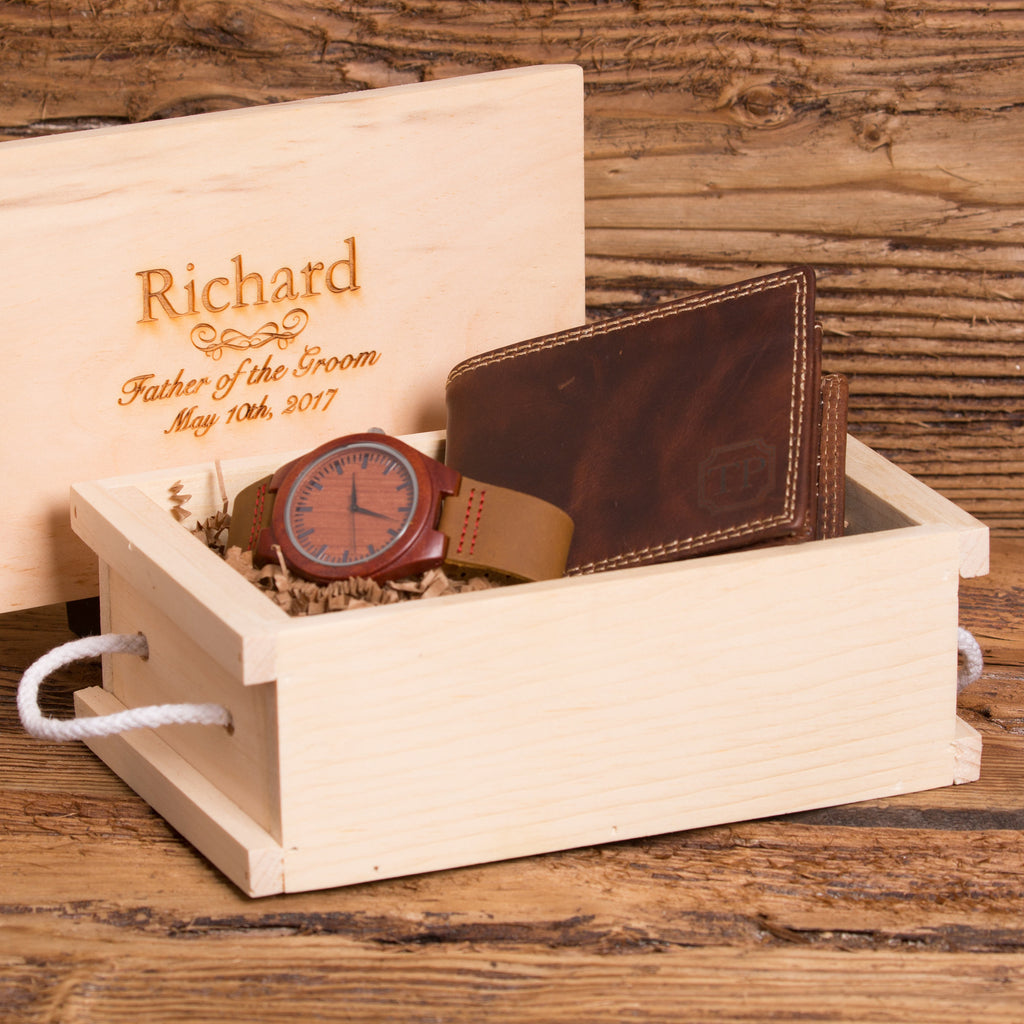 Gift Set for Men with Personalized Wallet & Wood Watch