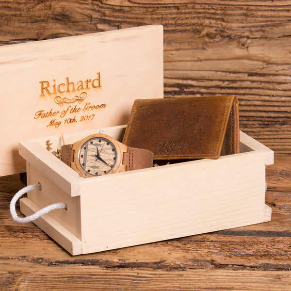 Leather Wallet Monogrammed with Wood Watch Personalized