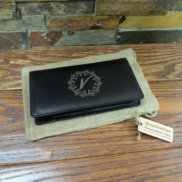 Leather Checkbook Holder Wallet Personalized, Monogrammed
