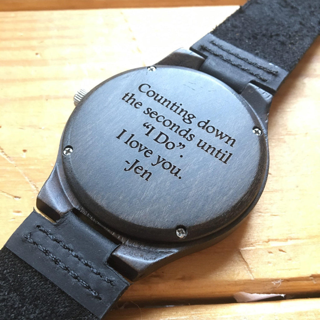 Personalized Dark Wood Watch w/ Leather Band
