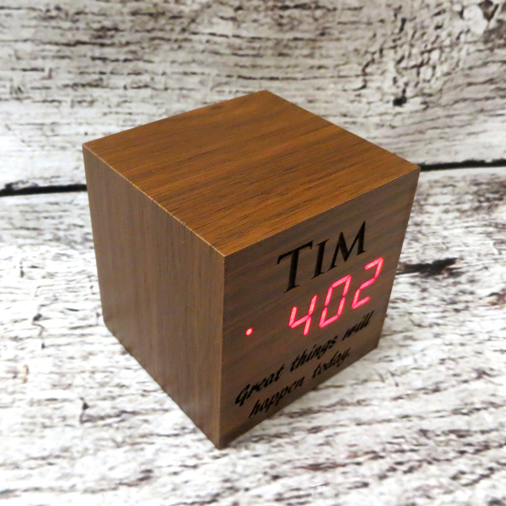 Personalized Square Wood Alarm Clock