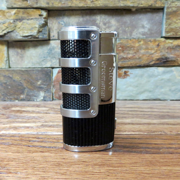 Personalized Silver & Black Cigar Lighter