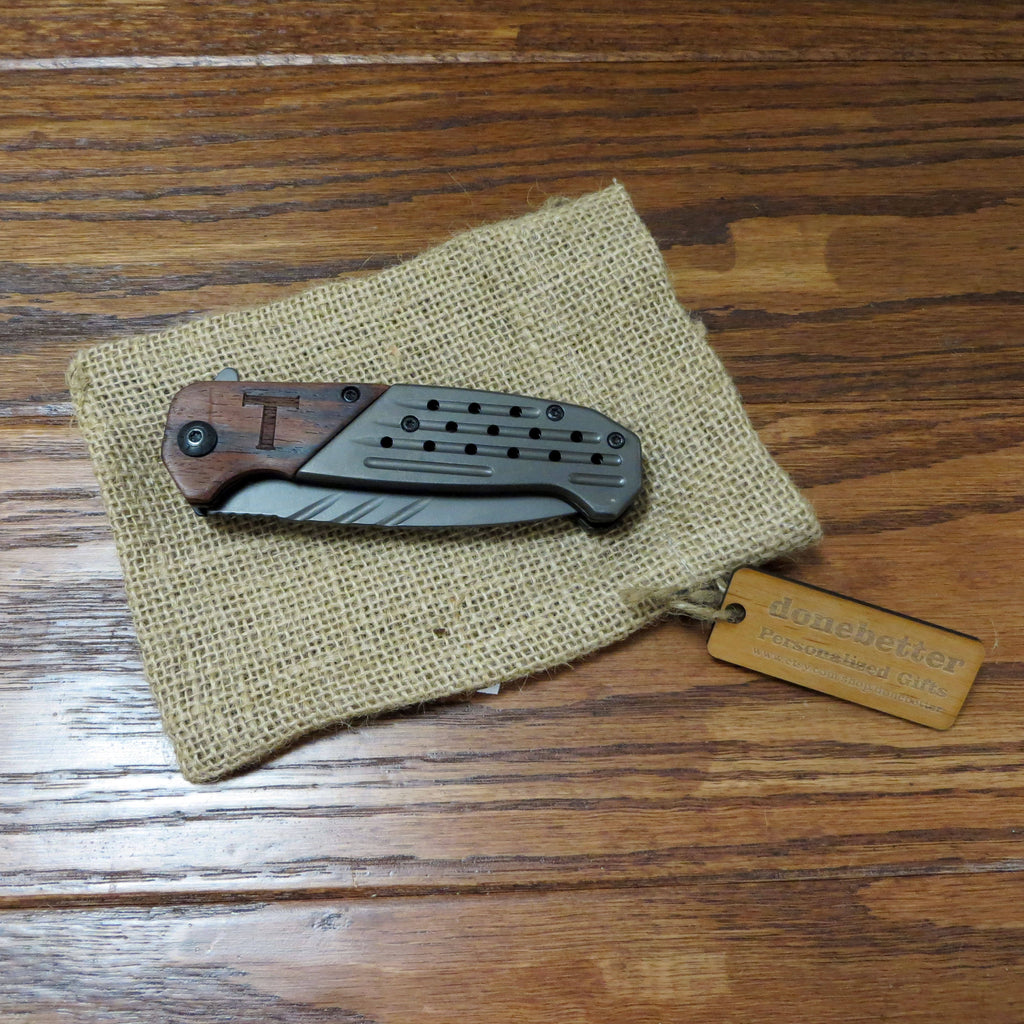 Personalized Wood and Metal Pocket Knife