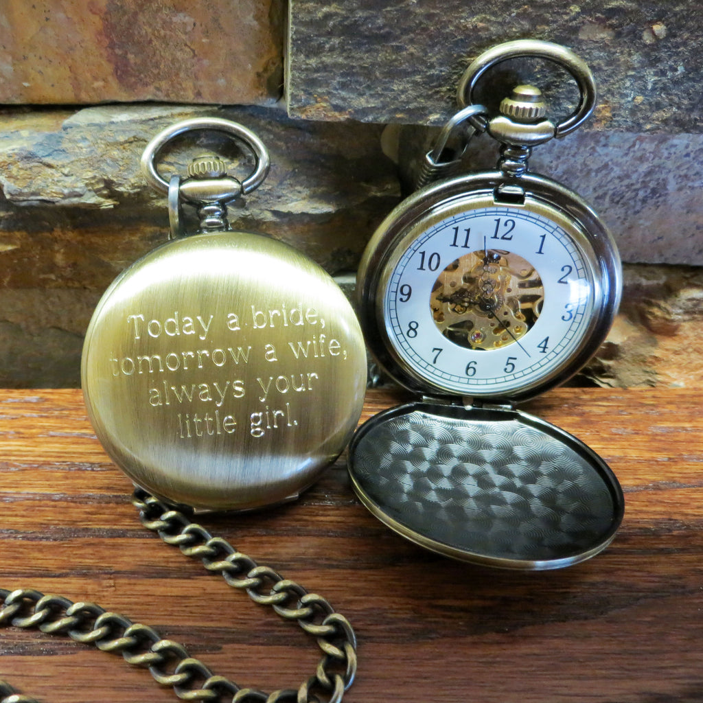 Personalized Pocket Watch Brushed Finish