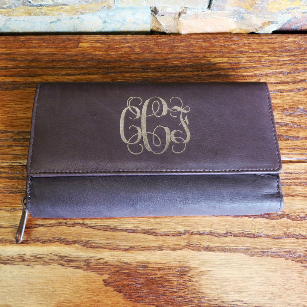 Womens Leather Wallet Personalized w/ Zipper