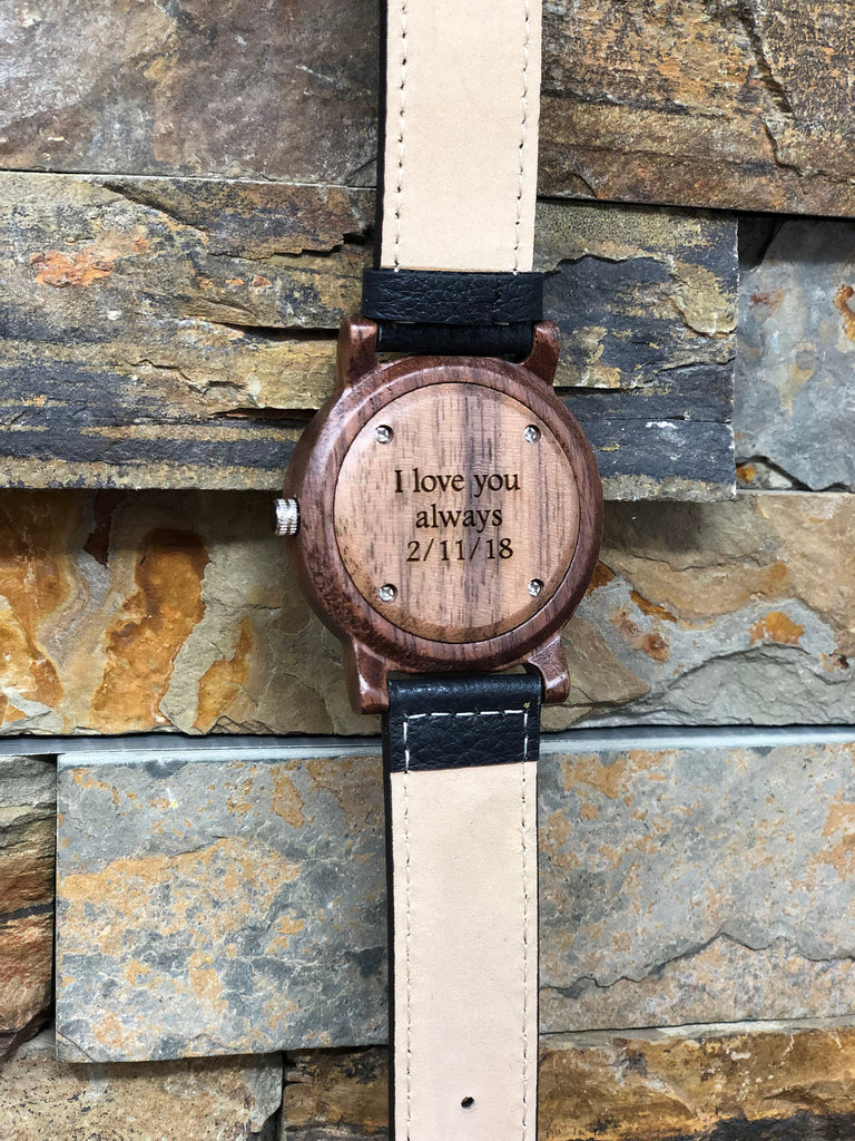 Wood Wrist Watch Personalized w Genuine Leather Band
