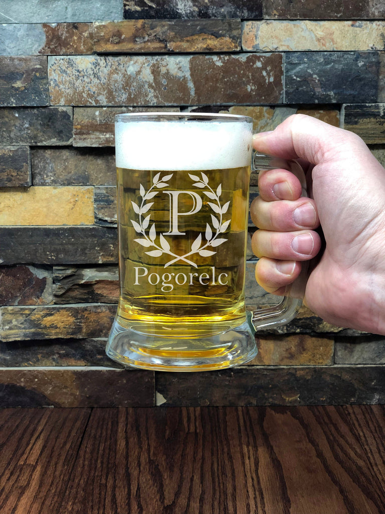 Custom Engraved Personalized Beer Mug with Handle