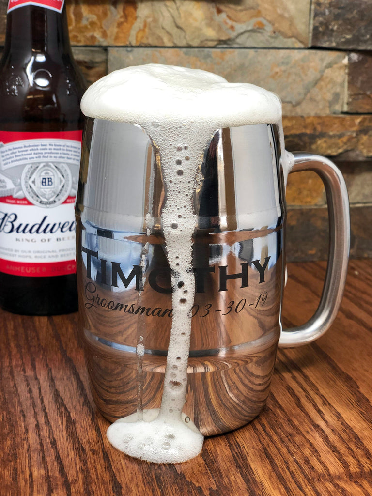 Stainless Steel Double Wall Insulated Custom Engraved Personalized Beer Mug