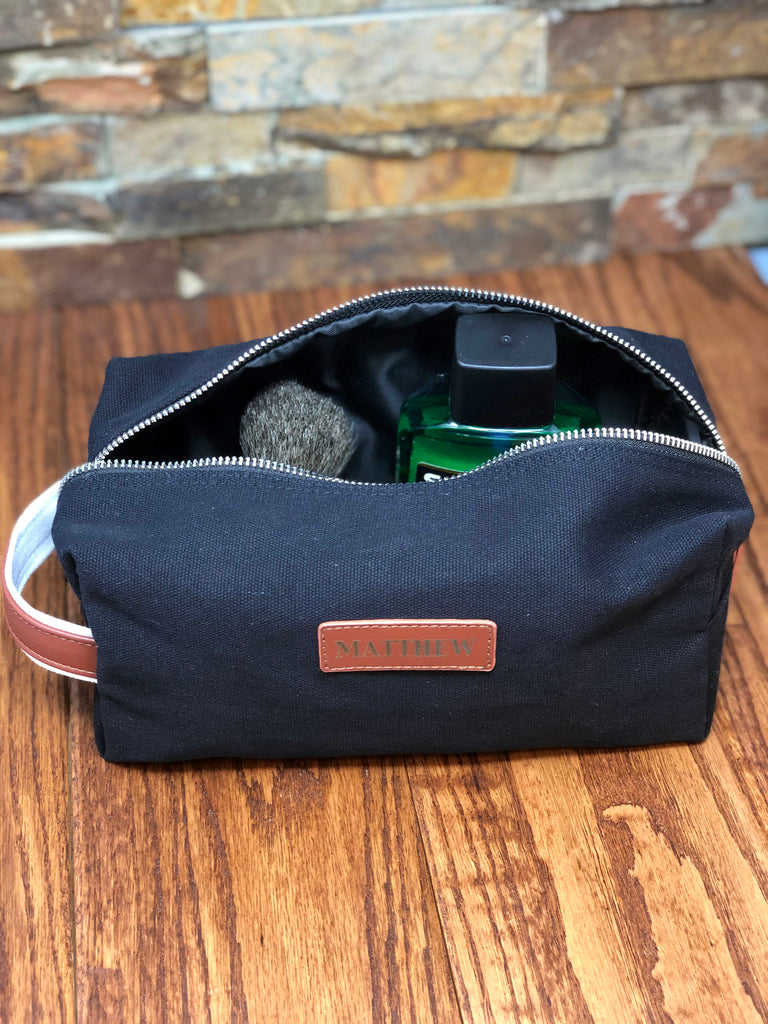 Personalized Black Canvas Dopp Kit