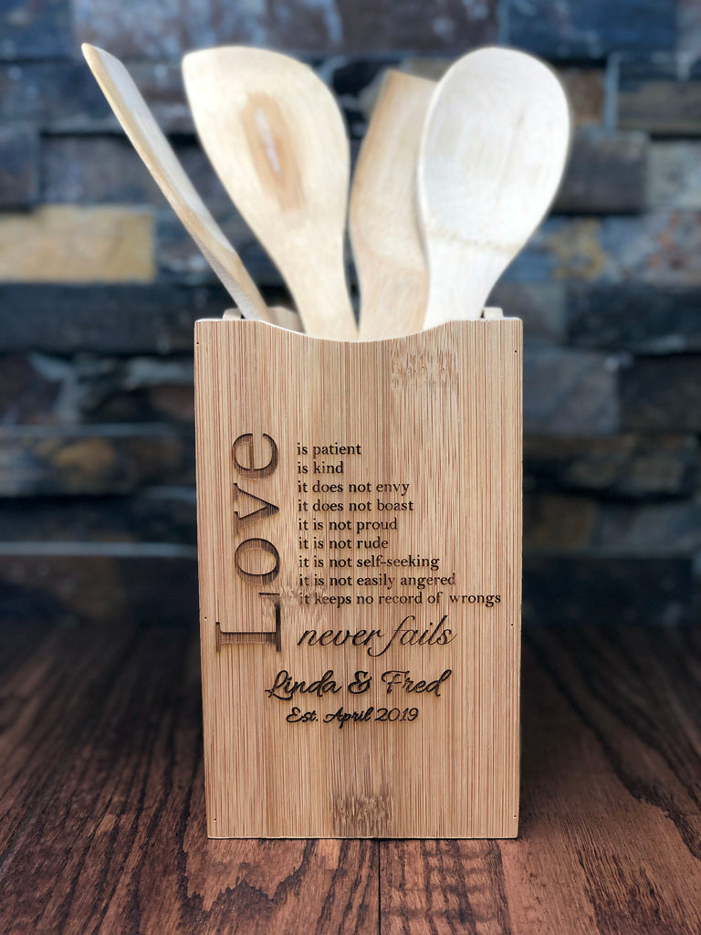 Personalized Wooden Spoon Spatula Set with Holder