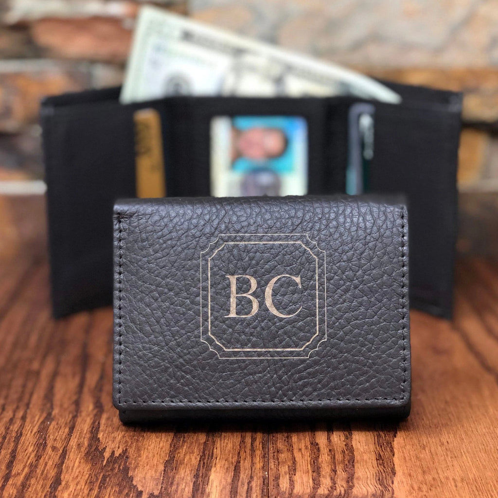 Tri Fold Mens Wallet Personalized with ID window