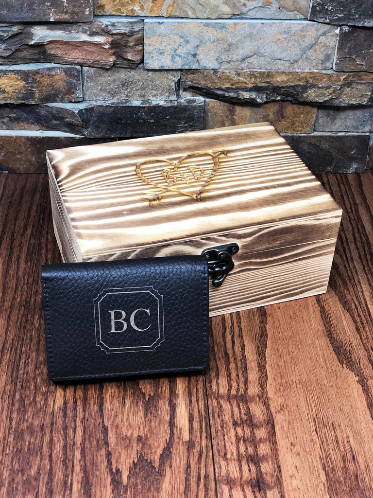 Holiday SPECIAL - Custom Personalized Tri-Fold Mens Leather Wallet w/ Wooden Crate