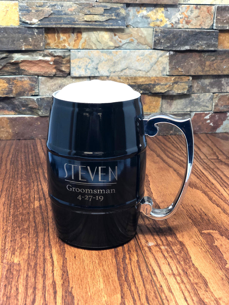 Personalized Black Stainless Steel Beer Mug