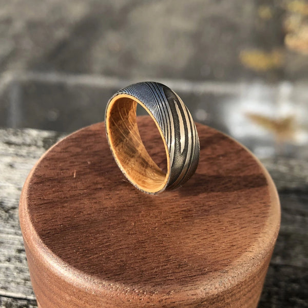Damascus Steel and White Oak Barrel Wood Men's Wedding Ring with Comfort Fit
