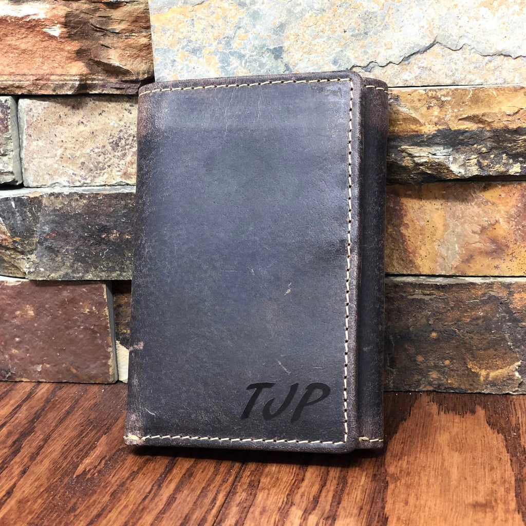Rustic Tri Fold Mens Leather Wallet Monogrammed