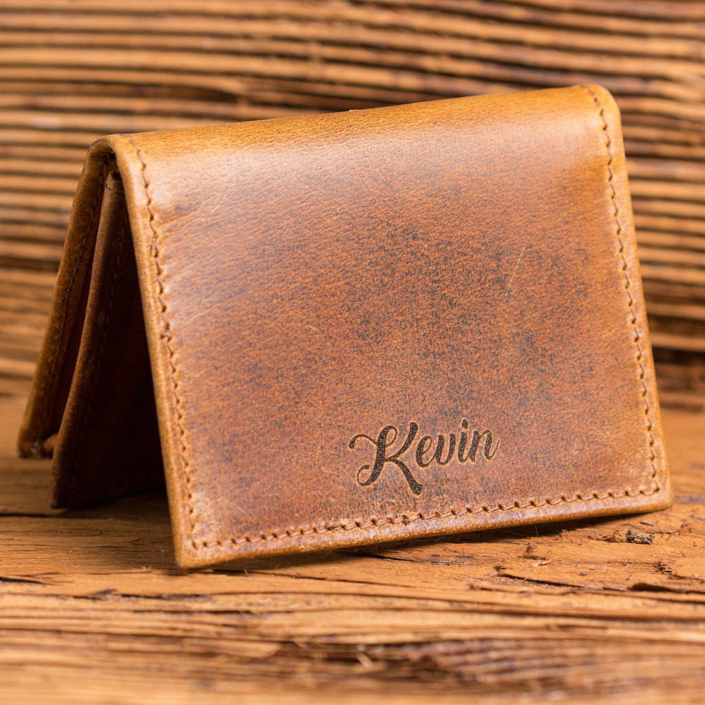 Personalized Mens Wallet Distressed Leather