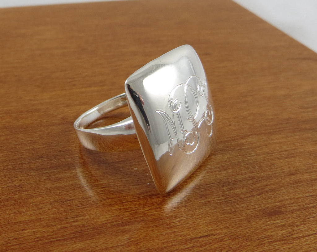 Monogrammed Sterling Silver Ring