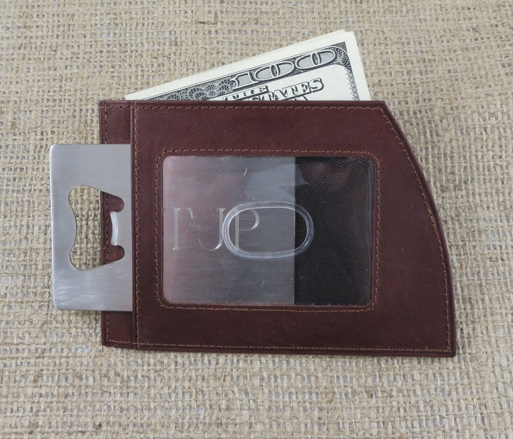 Leather Wallet with Bottle Opener