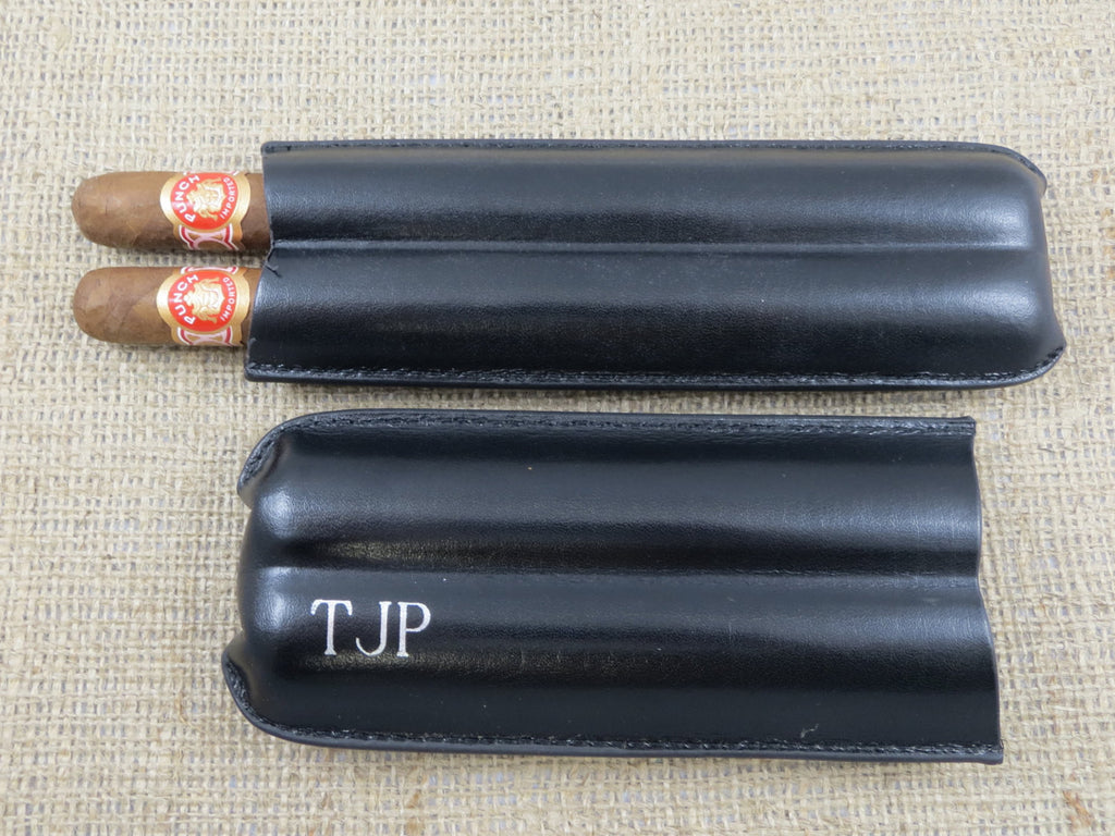 Personalized Leather Double Cigar Case