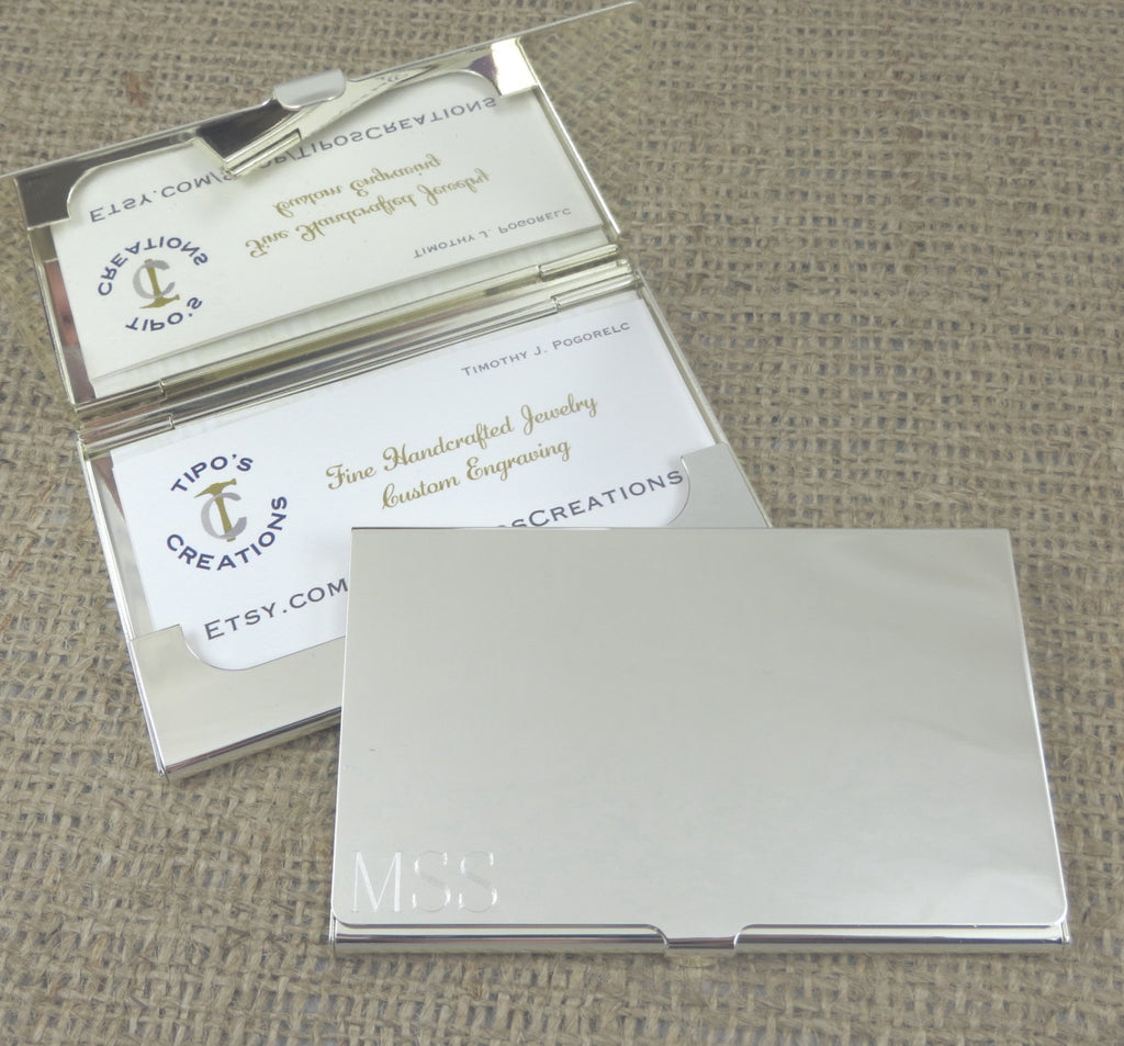 Silver Personalized Business Card Case
